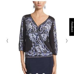 White House Black Market wrap blouse size 8